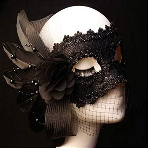 ZjkMr Schwarze Maske Abschlussball weibliches halbes Gesicht sexy Partei Prinzessin sexy Spitzemaske Erwachsener D 23cmX13cm