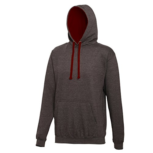 Varsity hoodie Charcoal-Burgundy AWDis Hoods Streetwear Felpa Cappuccio Uomo Charcoal-Burgundy