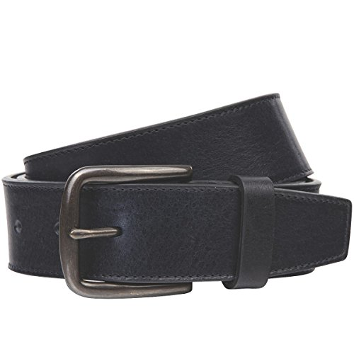 Lindenmann The Art of Belt Womens leather belt/Mens leather belt, full grain leather belt with stitching, Unisex, navy