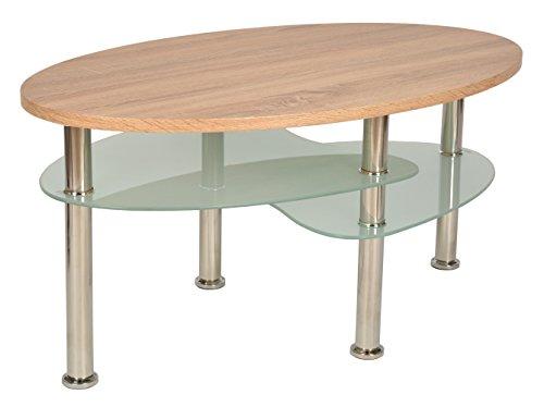 ts-ideen Design Wohnzimmer Holz Glastisch Couchtisch Beistelltisch Kaffeetisch 90 x 55 cm oval (Oval Couchtisch)