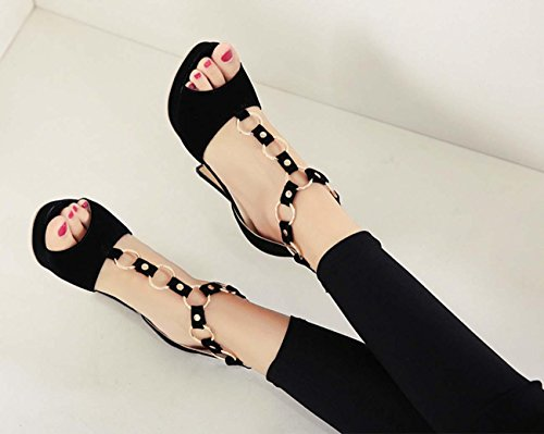 NobS Femmes imperméables à talons hauts sandales Open Toes sandales en métal Black