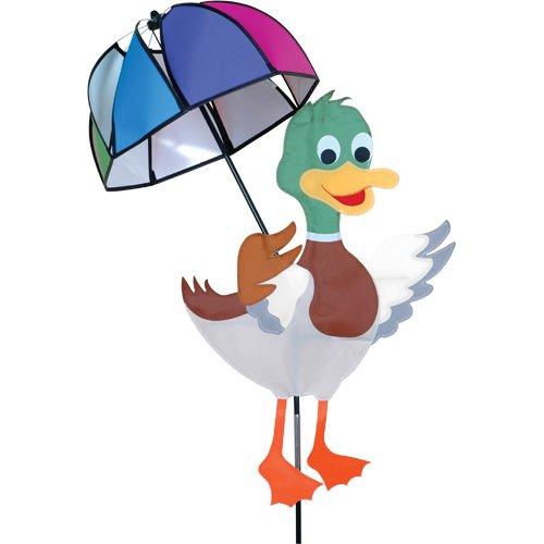 Très belle et grande girouette canard avec son ombrelle pour votre, jardin, terrasse, balcon - décoration extérieure colorée - Dimension : 85cm x 60cm - Diamètre de l'ombrelle : 40 cm - Hauteur : 100cm