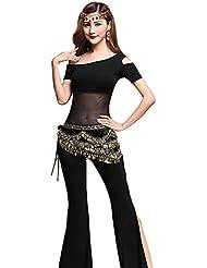 YiJee Sin Tirantes Danza de la India Tops Danza del Vientre Trajes Pantalones Con Cinturón