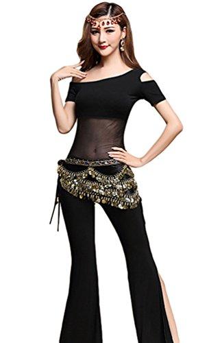 Tanz Billig Kostüm - YiJee Damen Bauchtanz Kostüm Indischer Tanz Top Bauchtanz Hose Gürtel Münzen Schwarz L