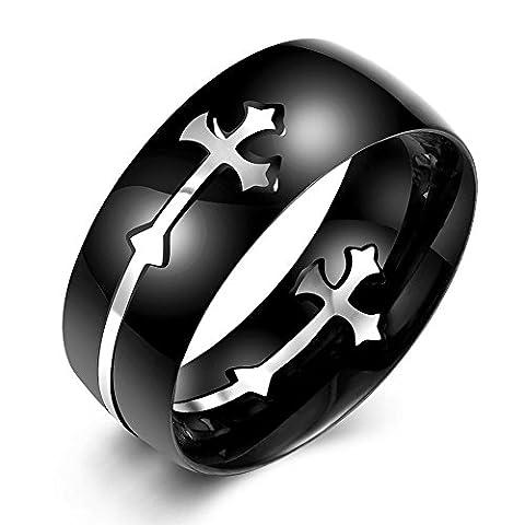 nykkola Religions en acier inoxydable Croix sculpté Confort Convient pour femmes hommes doigt anneau 8mm Taille 7–10