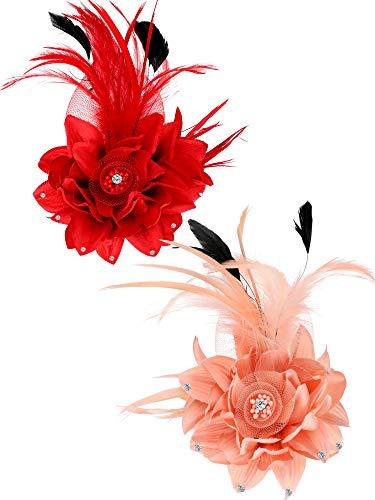 2 Stücke Gefälschte Feder Blume Haarspange Pin Brosche Korsage für Damen Mädchen Cocktail Party Vorräte (Rot und Rosa)