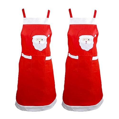 FY 2pcs Natale Grembiuli Grembiule Divertente Babbo Stampa Cucina Casalinga Famiglia Chef Cuochi Ristorante Cottura Parti Accessori Christmas Regalo 33.46 * 22.04 Pollici Rosso
