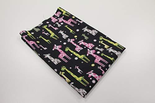 Pinidi Coupe Tissu / 50 cm x 140 cm/Ökotex 100 / Coton giraffen Multicolore sur Noir