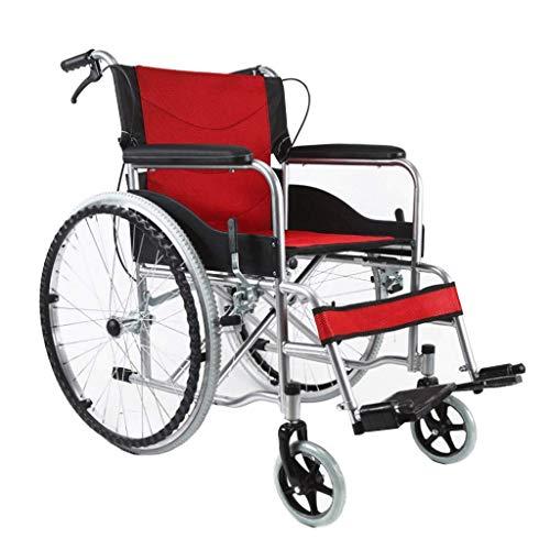 WLD Doppelbremse Mit Eigenantrieb Rollstuhl, Aluminium-Legierung Folding Weichsitz Ältere Behinderte Hand Pusher Walker Armlehne/Rot -
