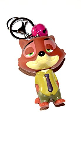 POP OUT BIG HEAD FIGURE 3D ANIMATED CARTOON KEYCHAIN KEYRING WITH BELL (ZOOTOPIA CON ARTIST NICK THE FOX)