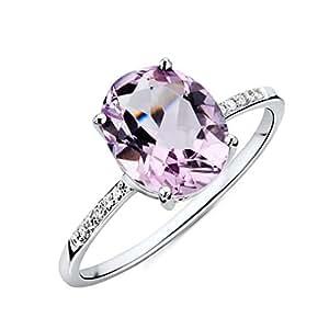 Miore Ring Damen Weißgold 9 Karat / 375 Gold Roser Amethyst mit Diamant Brillianten