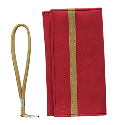 Jo Jo A5 Nillofer Leather Wallet Universal Pouch Cover Case for Intex Aqua Octa Red Beige