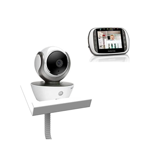 Motorola MBP853 with Baby Camera Holder (White) - The Universal Baby Monitor Shelf Holder Flexi Motorola MBP36S Video Monitor with Baby Camera Holder Can use with all baby cameras on the market. No drilling to walls required. Easy to assemble, by screwing the two parts together. 1