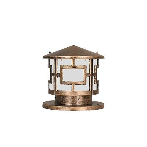 Xungel Außenpfosten-Laterne runde Spalten-Scheinwerfer-Gussaluminiumgehäuse-europäischer Hof-Beleuchtungs-Zaun-Plattform-Landhaus-Säulen-Lampen-Metallaußenweg-Lichter ( Color : Bronze ) -
