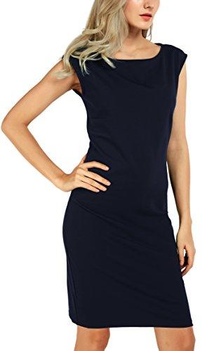 Damen U-Boot-Ausschnitt Kleider Elegantes Etuikleid Navy Blau