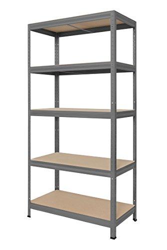 Hans Schourup 13501080 Lagerregal mit 5 böden aus MDF, Traglast von bis zu 275 kg pro Boden, 180 cm x 90 cm x 45 cm, Grau