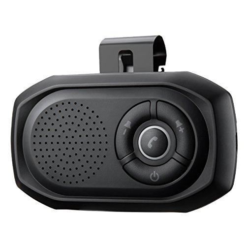 TOPELEK Kit Mains Libres Bluetooth Voiture Haut-Parleur Brise-Soleil Micro Intégré Kit Voiture Bluetooth avec Pince Support 2 Appareils Bluetooth pour iPhone, Samsung, Huawei,Tablets, iOS Siri