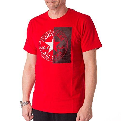 Converse Herren Halbes Mesh Logo T-Shirt, Weiß Cherry