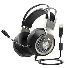 Casque de Jeu Son 7.1 Casque Gaming 7.1 Effets d'Environnement Personnalisé Stéréo Surround Over-Ear Casque avec Contrôle du Volume sur Casque Micro avec Commutateur, Casque de Jeu PC PS4