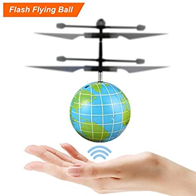 FPVRC Flying Ball Toy, RC Helicopter Hand Infrared Induction Drone Earth Ball?Built-in Colorful LED Lights for Boys, Girls and Teenagers