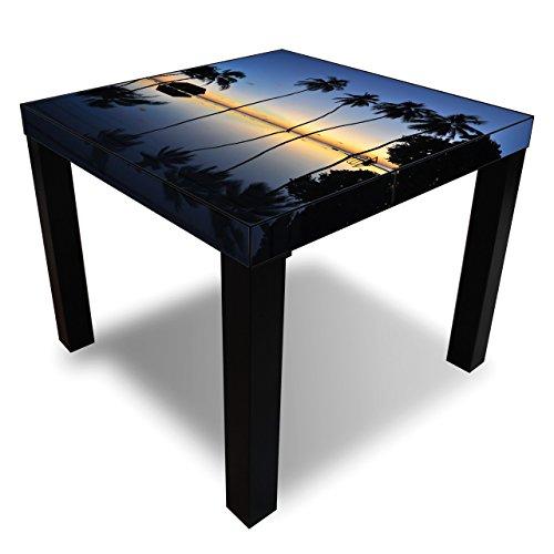 Printalio - Palmen und Pool - Möbelaufkleber für IKEA Lack 55x55cm Beistelltisch bekleben Fotomotivaufkleber | Fotosticker Bedruckt (Pool-tisch Lack)