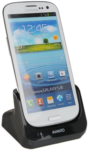 AVANTO USB Dockingstation für Samsung Galaxy S3 GT-I9300/GT-I9305 mit USB Datenkabel/Ladegerät schwarz -