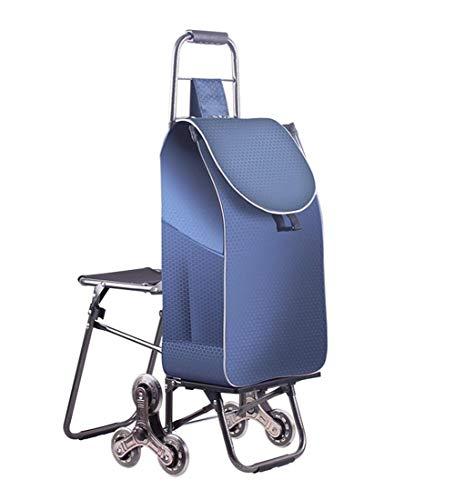 QIANGDA-Handwagen Einkaufstrolley Faltbar Einkaufswagen Stahlrohrrahmen Mit Radlagern Hockerweiterung Tragbarer Picknickwagen Faltbar, 5 Farben (Farbe : Dunkelblau)