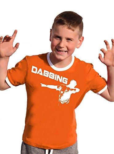 Coole-Fun-T-Shirts Dabbing T-Shirt Kinder Ringer orange, 176