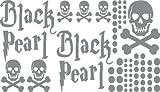 Autoaufkleber Sticker Aufkleber Set für Auto Schriftzug Black Pearl Totenköpfe (076 telegrau)