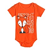 Igemy Newborn Infant Baby Boys Girls Fox Letter Print Romper Jumpsuit Outfits Clothes (9-12Months, Orange)