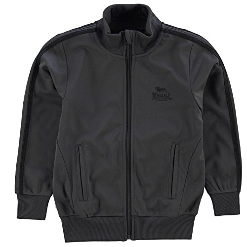 Striped Mock Neck Top (Lonsdale Kinder Jungen Trainingsjacke Sportjacke Jacke Streifen Detail Anthrazit/Schwarz 11-12 Jahre L)