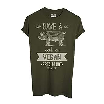T-Shirt EAT A VEGAN - MUSH by Mush Dress Your Style - Uomo-L-Verde Militare