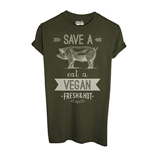 T-Shirt EAT A VEGAN - MUSH by Mush Dress Your Style - Uomo-XXL-Verde (Militari T-shirt)