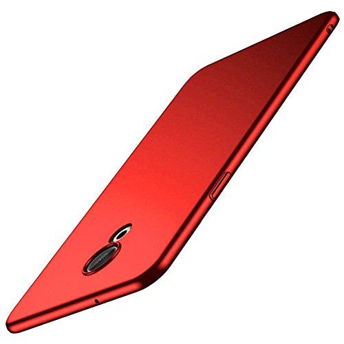 Richgle Rot Sehr Dünn Hülle Schutzhülle Case + Displayschutzfolie für Meizu 15 Lite (5.46
