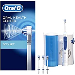 Oral-B Reinigungssystem OxyJet Munddusche und Oral-B Pro 3000 Wiederaufladbare Elektrische Zahnbürste, mit 4 OxyJet Aufsteckteilen und sechs Aufsteckbürsten
