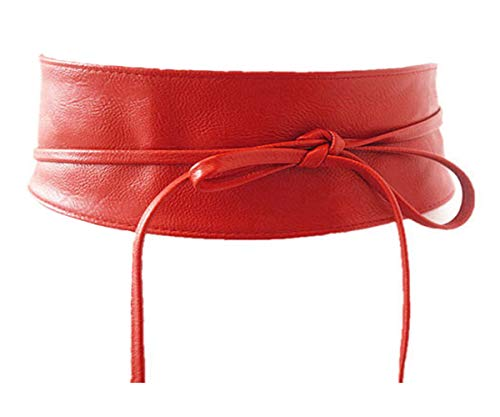 Unbekannt Damen Gürtel Leder/Spitze Taillengürtel Wickelgürtel Bindegürtel Ledergürtel (Leder Rot)