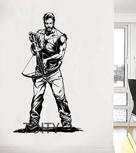 haotong11 Daryl Dixon Mit Armbrust Wandaufkleber The Walking Dead Poster Zombie TV Vinyl Aufkleber Wohnheim Teen Room Art Decor Riesen Wandbild 98 * 58 cm