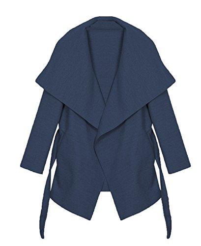 Kendindza Damen Mantel Trenchcoat mit Gürtel Onesize Lang und Kurz (One Size, Navy Blau Kurz)