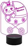 Generico Idea regalo nascita neonato neonata LAMPADA a led 7 colori selezionabili PASSEGGINO con bambina personalizzabile Night light Luce da notte