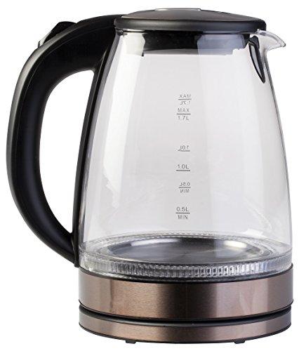 Ardes ar1k45 bollitore elettrico in vetro borosilicato capacità 1,7 l arresto automatico senza fili base di rotazione a 360° dettagli acciaio inox rose gold per acqua tisane tè