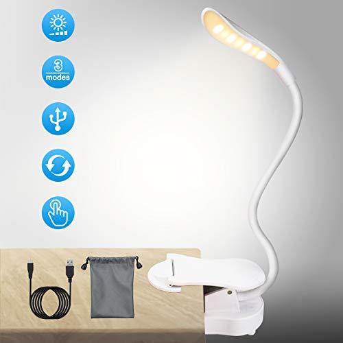 LED Klemmleuchte Leselampe Buch SOLMORE LED Buchlampe mit 7 LEDs, 3-Stufe Helligkeit, Touch-Dimmer 360° Flexibel und USB Wiederaufladbar mit Augenpfleg zum Studieren und Arbeite für Nachtlesung