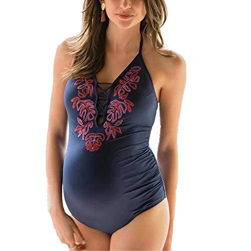 DOTBUY Schwangerschafts-Badeanzug Herzmutter Umstands Bademode Damen Sommer Sexy Tief V Ausschnitt Rückenfrei Neckholder Bikinis Umstandsbadeanzug (Maternity Damen Kostüm)