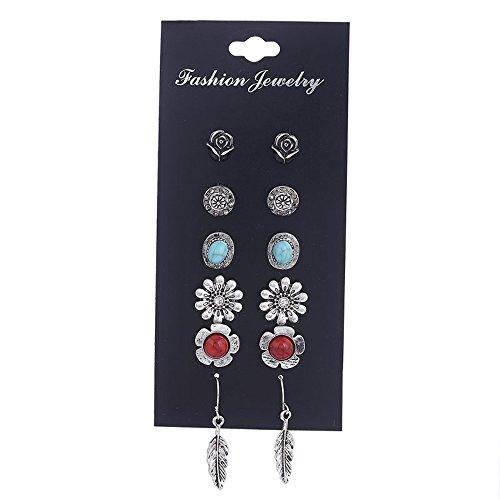 Shining Diva Fashion Oxidised Silver Jewellery Combo of 6 Stylish Fancy Party Wear Tops Studs Earrings For Women & Girls