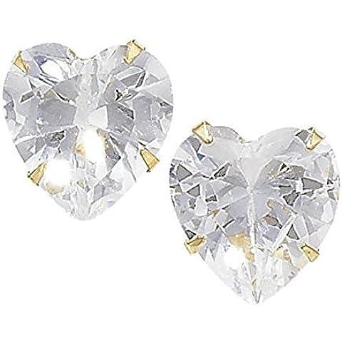 Unique Wishlist in oro giallo 9kt e Zirconia cubica a forma di cuore Studs * ger396b
