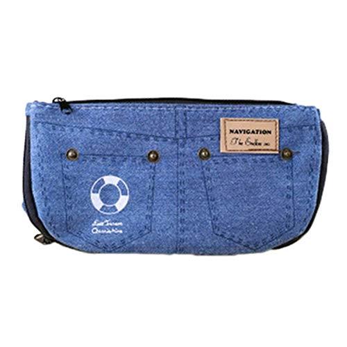 Housesweet sacchetto di trucco della scatola di immagazzinaggio della penna della chiusura lampo della grande capacità della borsa della matita della cassa della matita della tela del denim