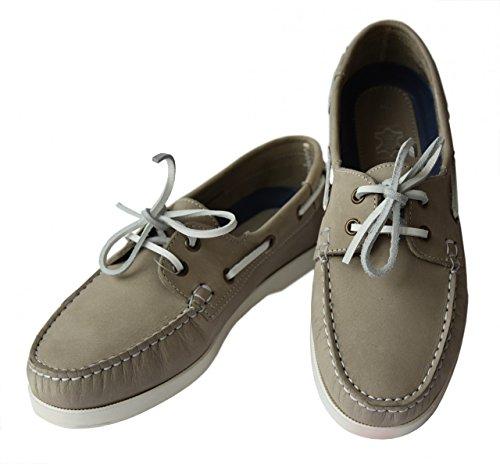 Beverly Originals Herren Leder Bootsschuh Men's Casual Skipper Grau