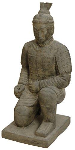 """Gartenfigur Chinesischer Soldat kniend Steinguss / Steinfigur Krieger \""""Terrakotta Armee\"""" Statue 100cm für Haus und Garten"""