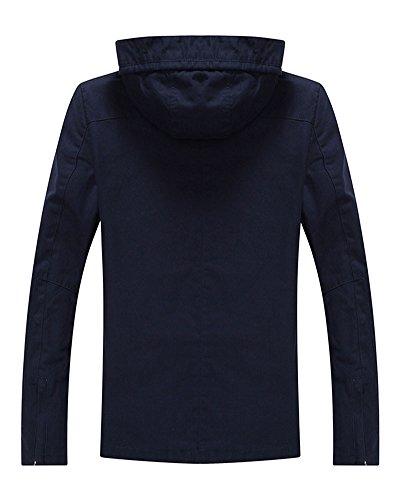 Hommes Veste Mode Détente Manches Longues Slim Imprimé Encapuchonné Manteau Bleu foncé