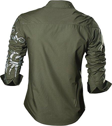 jeansian Homme Chemises Casual Shirt Tops Mode Men Slim Fit 2028 Z030_ArmyGreen