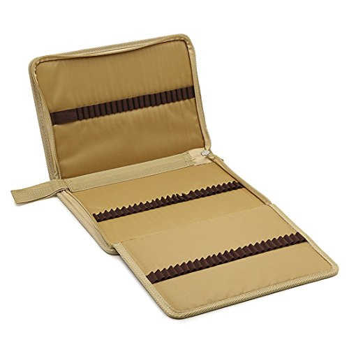 zhengdu tragbar Leinwand Reißverschluss farbigen Bleistift case-super groß Kapazität 72Slot Bleistift Tasche für Aquarell Bleistifte khaki